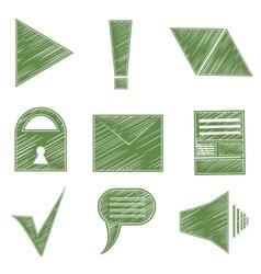 Set icons symbols arrows checkmark envelope vector