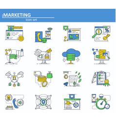 set of digital and social media marketing vector image