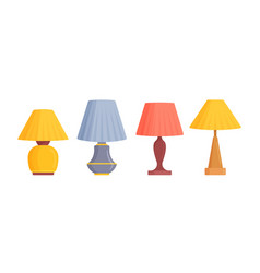 Set table work lamps desk bulbs and torcheres vector