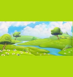 spring landscape green meadow with daisies vector image