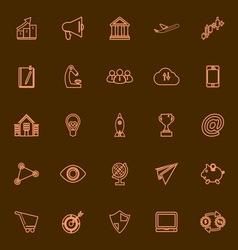 Startup business orange line icons vector