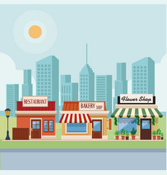 Stores at city scenery vector