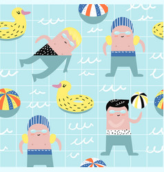 Summer childish seamless pattern with cute boys vector
