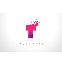 t letter logo with pink purple color and vector image
