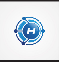 technology design orbit with letter h symbol vector image