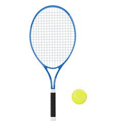 Tennis racket with yellow ball 3d vector