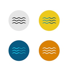 Three lines simple water sea waves icon vector image