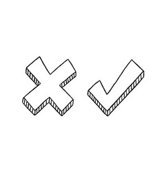 Tick and cross signs vector