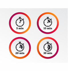 Timer icons five minutes stopwatch symbol vector