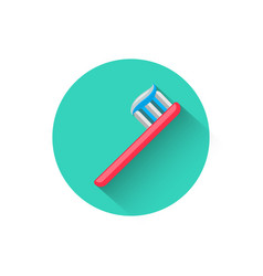 toothbrush icon in flat design style vector image