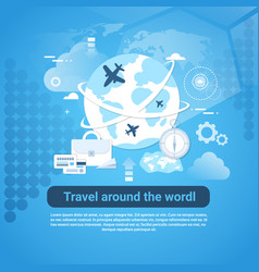 Travel around world web banner with copy space vector