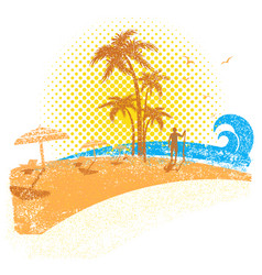 Tropical beach with surfer seascape background vector