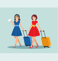 two female friends with luggage at airport vector image