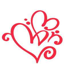 two red lovers heart handmade calligraphy vector image