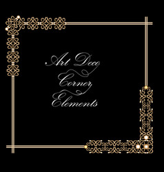 typographic document corner in gold art deco vector image