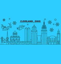United states cleveland winter holidays skyline vector