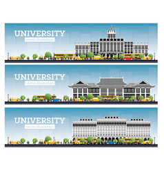 University campus set study banners vector