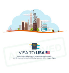 Visa to usa travel to usa document for travel vector