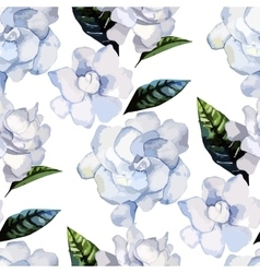 Watercolor gardenia pattern vector