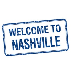 Welcome to Nashville blue grunge square stamp vector