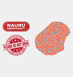 Wildfire and emergency collage nauru map and vector