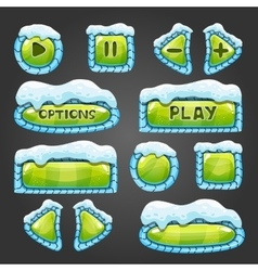 Winter green buttons with snow vector