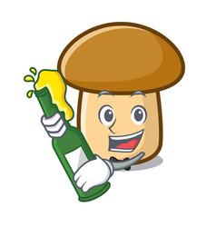With beer porcini mushroom mascot cartoon vector