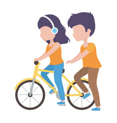 woman with headphones riding bike and man walk vector image