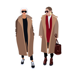 Young women or girls dressed in trendy clothes vector
