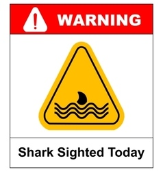 a danger signal icon with a shark vector image