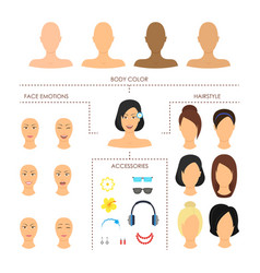 cartoon woman face constructor element set vector image vector image