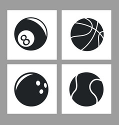collection balls sport icons black and white vector image vector image