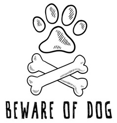 doodle pet dog beware of dog bone paw print vector image