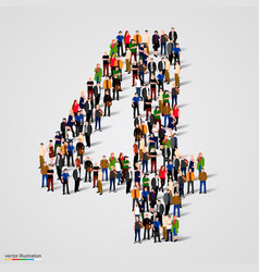 Large group of people in number 4 four form vector