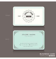 Retro hipster business card Design Template vector image vector image