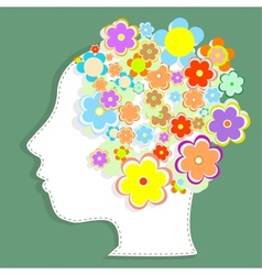 silhouette womans head filled with cute flowers vector image