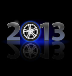 twenty thirteen year car wheel on black vector image