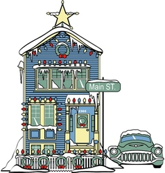 Victorian house in snow vector image vector image