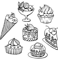 Cupcakes Icecream Sketch vector image