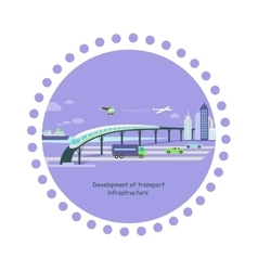Development of Transport Infrastructure Icon Flat vector image