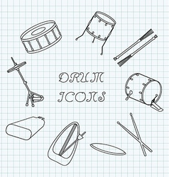 Linear drum icons on the notebook sheet in a cage vector image