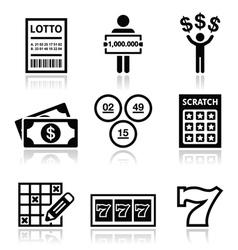 Winning money on lottery slot machine icons set vector