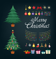 christmas tree greetings set with decorative xmas vector image vector image