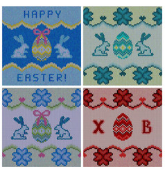 set of the knitted easter backgrounds vector image vector image