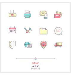 Basic line icons set vector