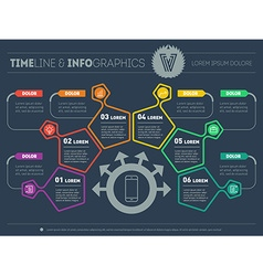 Business plan with six steps Infographic with vector image vector image