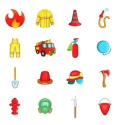 Fireman icons set cartoon style vector image vector image