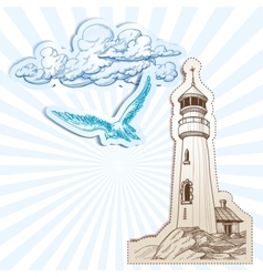 Lighthouse and sky background vector image vector image