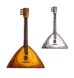 sketch balalaika guitar musical instrument vector image vector image