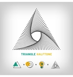 Triangle logo 3d abstract halftone vector image vector image
